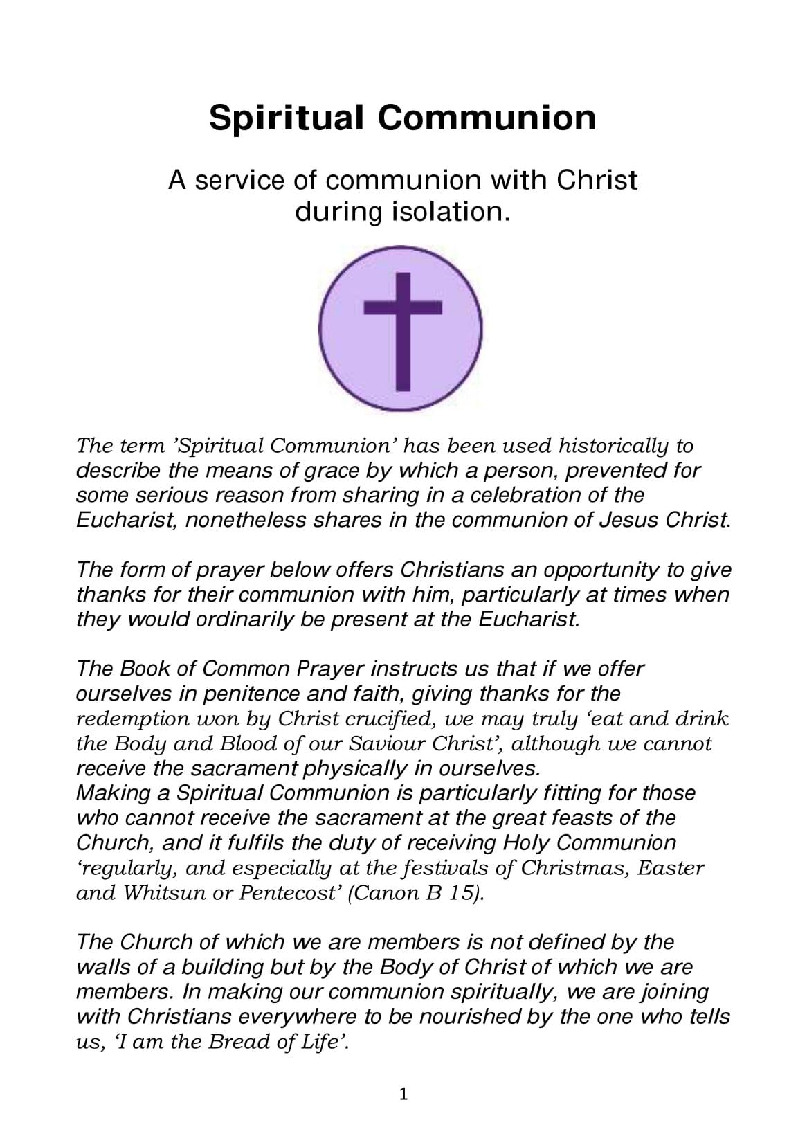 Spiritual Communion service A5-1