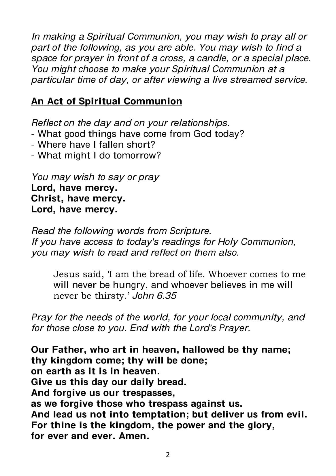 Spiritual Communion service A5-2
