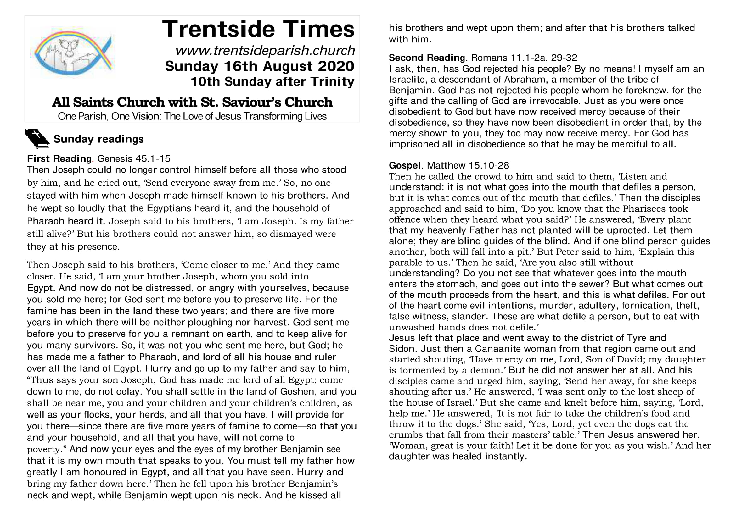 16th August. Trentside notices-page 1